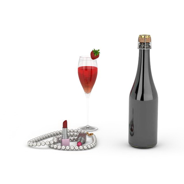 Wine and lipstick 3d rendering