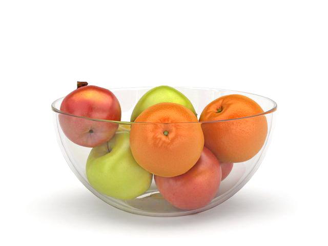 Banana apples orange glass bowl 3d rendering