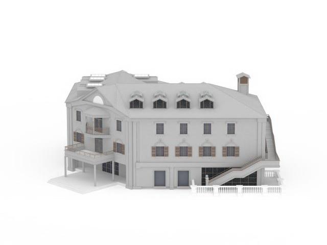 Public school building 3d rendering