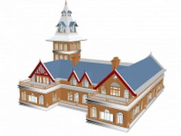 French style school building 3d preview