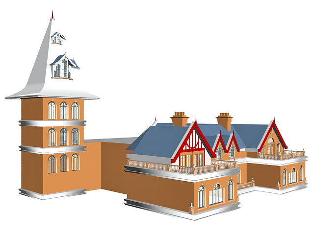 French style school building 3d rendering