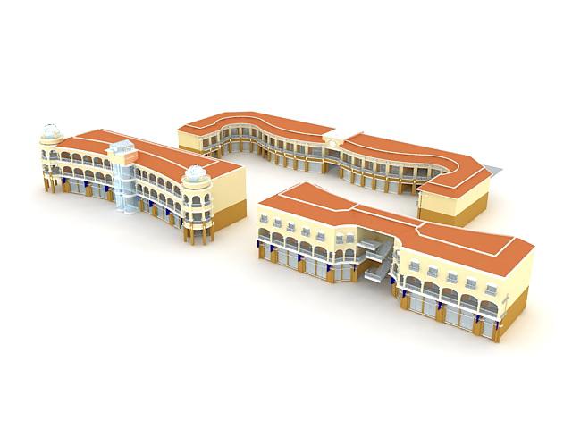 School building 3d rendering