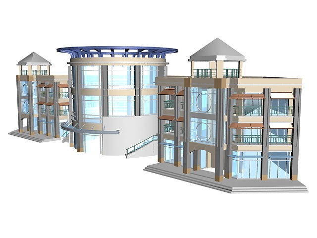 Modern library building 3d rendering