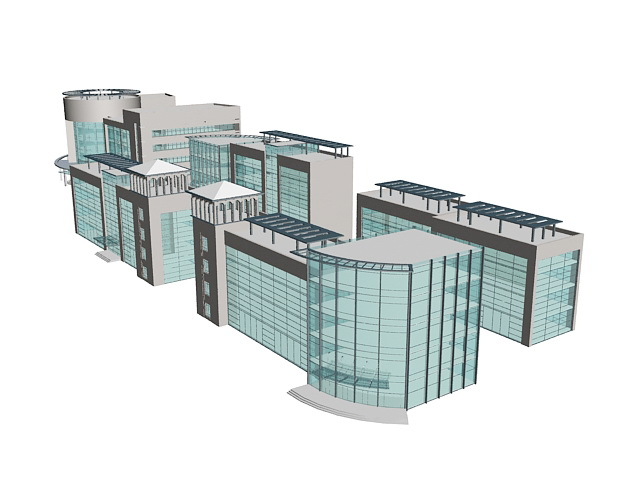 Modern office buildings with glass wall 3d rendering