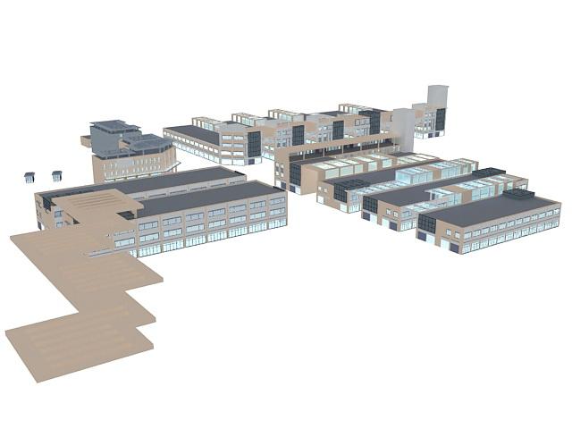 Urban commercial area 3d rendering