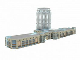 Mixed-use development buildings 3d preview