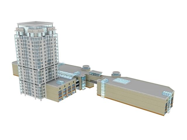 Mixed-use development buildings 3d rendering