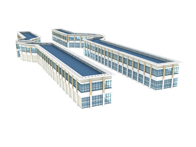 Shopping street architecture 3d rendering