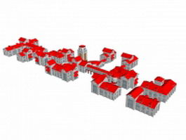 Red house residential district 3d model preview