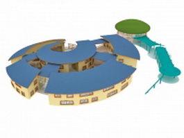 Kindergarten building 3d preview