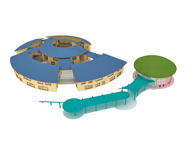 Kindergarten building 3d rendering