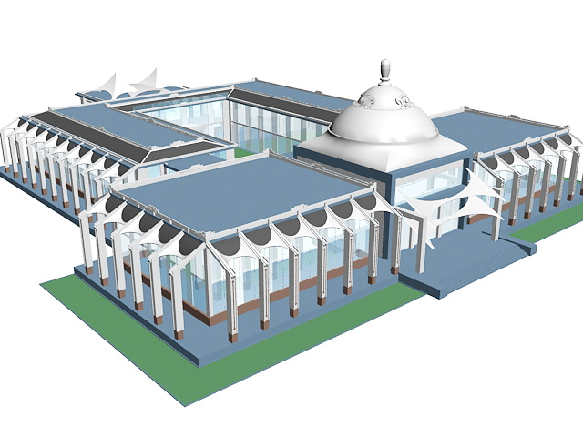 Contemporary Islamic architecture 3d rendering