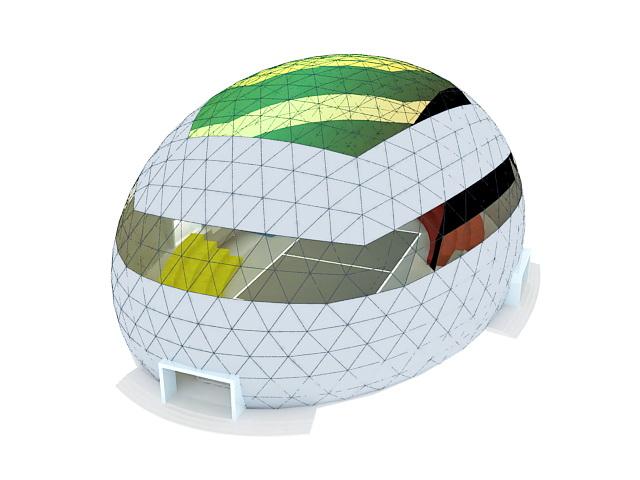 Futuristic stadium building 3d rendering