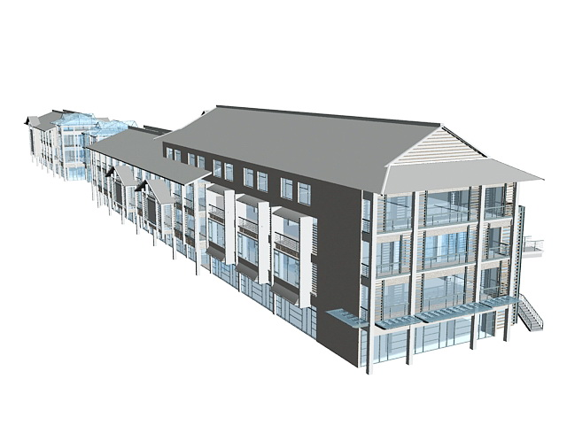 Street shop buildings 3d rendering