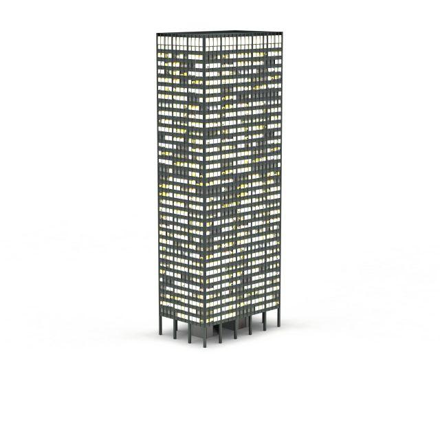Office building night 3d rendering