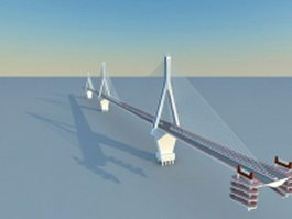 Cross sea bridge 3d model preview