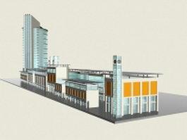 Retail & office complex 3d preview