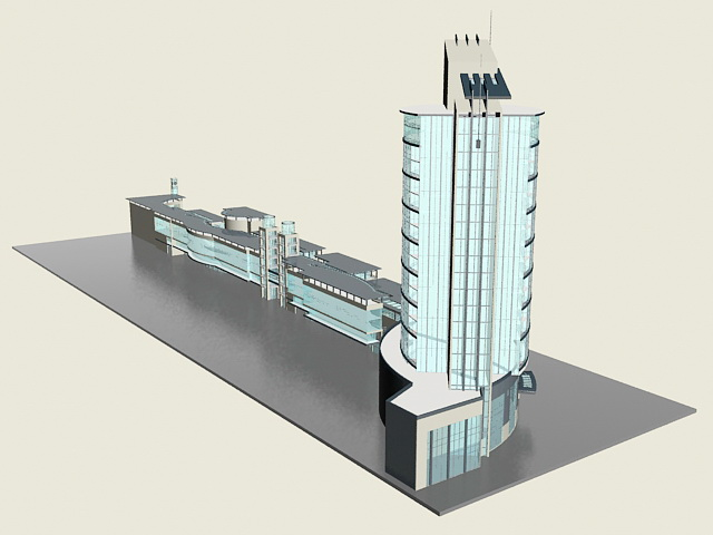 Retail & office complex 3d rendering