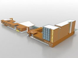 Retail and apartment complex 3d preview