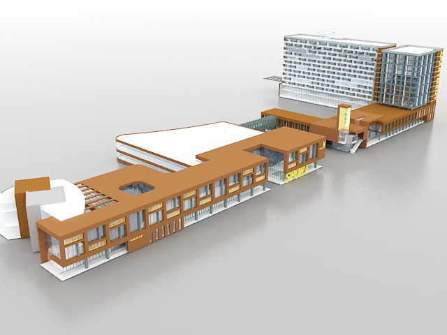 Retail and apartment complex 3d rendering