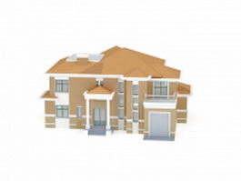 House plan with garage 3d model preview