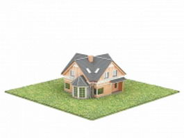 Home with lawn 3d model preview