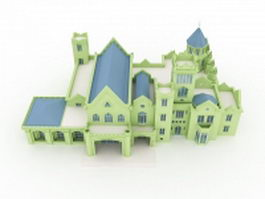European manor building 3d model preview