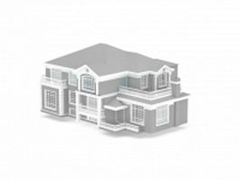 American house building 3d model preview