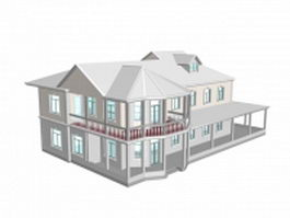 American country home 3d model preview