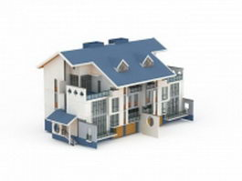 Chinese terraced house 3d model preview