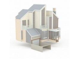 Modern Japanese house 3d model preview