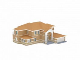 American house with garage 3d preview
