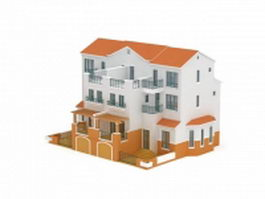 Three storey terrace house 3d model preview