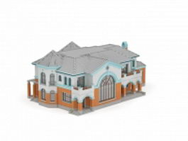 Mediterranean style house 3d model preview