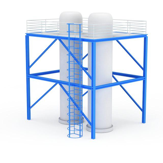 Sliding frame silo 3d rendering