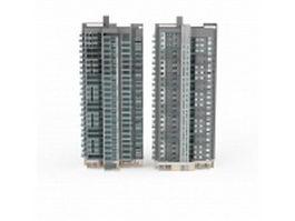 Apartment block buildings 3d model preview