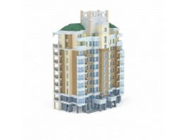 High-rise residential tower 3d model preview