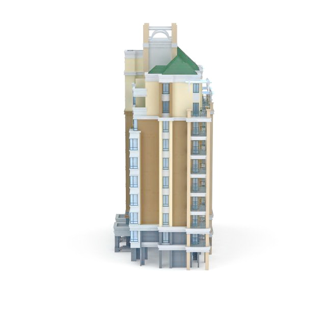 High-rise residential tower 3d rendering