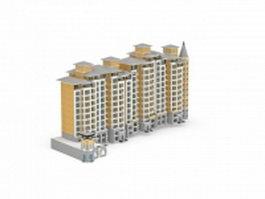 Residential apartment blocks 3d model preview