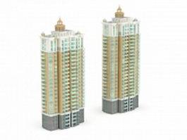 Apartment block community 3d model preview