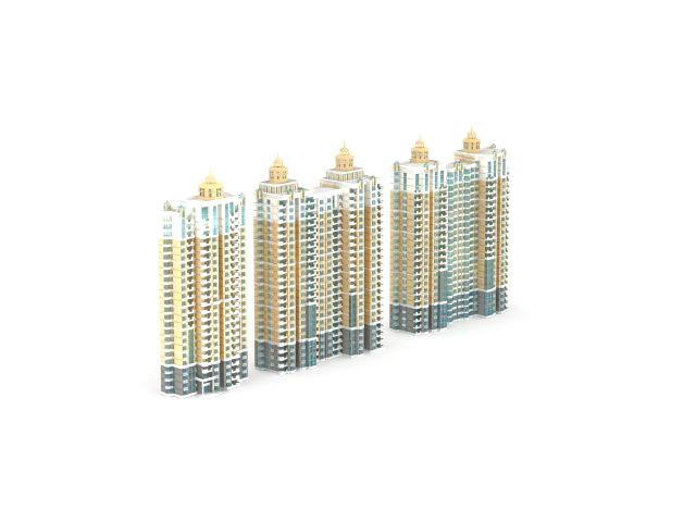 Residential area apartment blocks 3d rendering