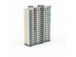High rise apartment complex 3d model preview