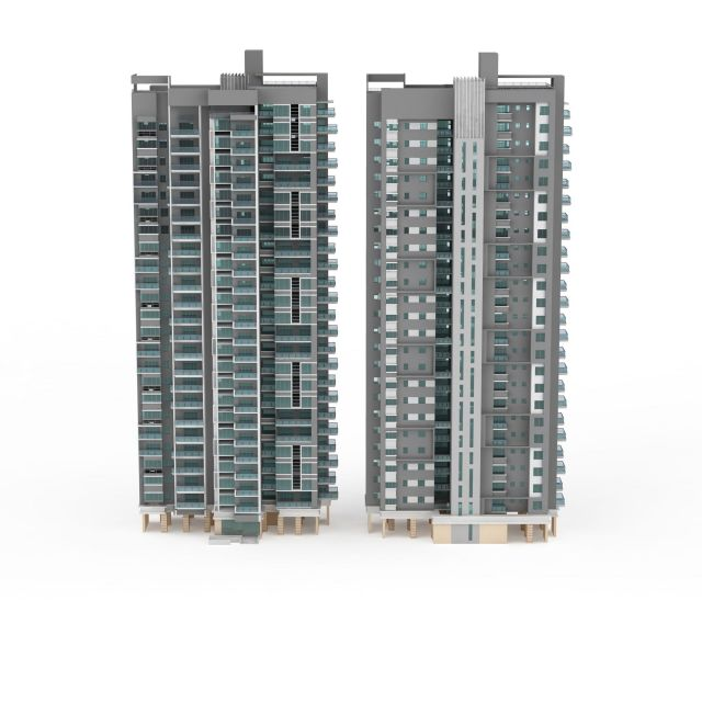 Two tower blocks apartment 3d rendering