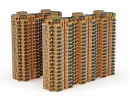Yellow apartment blocks 3d model preview