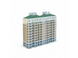 Chinese apartment block 3d model preview