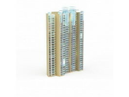 Modern apartment block building 3d model preview