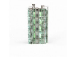 Apartment building at night 3d model preview