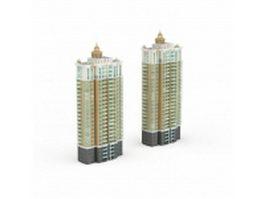 Apartment block of flats 3d model preview