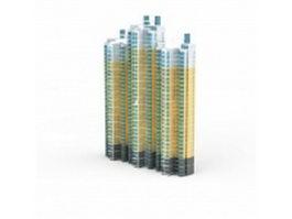 City block apartments 3d model preview