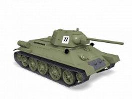 World War 2 tank 3d model preview